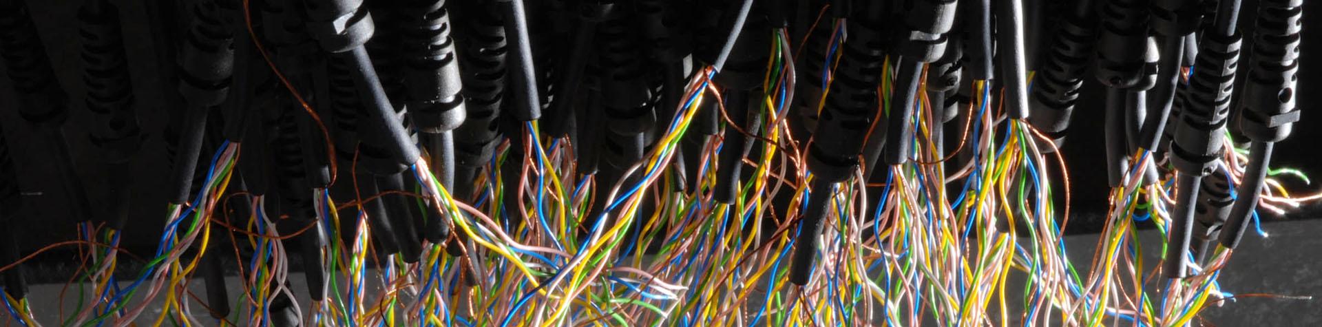 Abisolierte Kabel mit vielen bunten Leitern